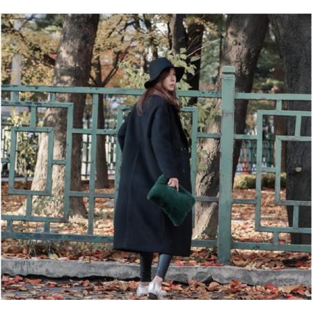 2016秋冬新款韩版宽松中长款毛呢子大衣加厚茧型过膝毛呢外套女