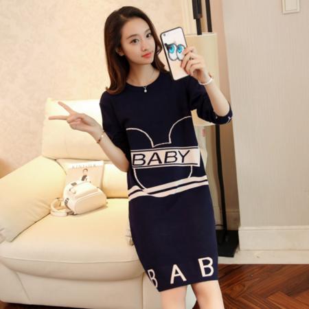 2016韩版女秋装新款宽松显瘦字母中长款长袖套头毛衣女