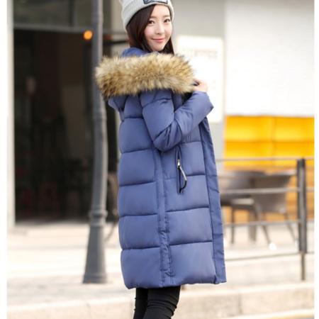 2016冬季新款女 拼接拉链大毛领大衣款大码连帽棉衣