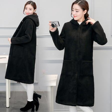 2016新款女装冬韩版宽松大码中长款毛呢外套连帽大衣