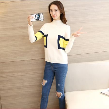 2016秋季新款韩版纯色短款针织衫圆领长袖宽松显瘦上衣