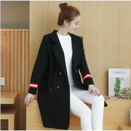2016韩版宽松中长款呢大衣外套女装双排扣拼色毛呢外套