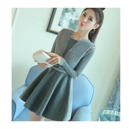 2016新款女装韩版时尚连衣裙长袖A字裙中长款针织打底