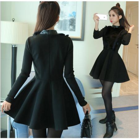 2016冬季新款韩版女装 时尚长袖显瘦毛呢连衣裙