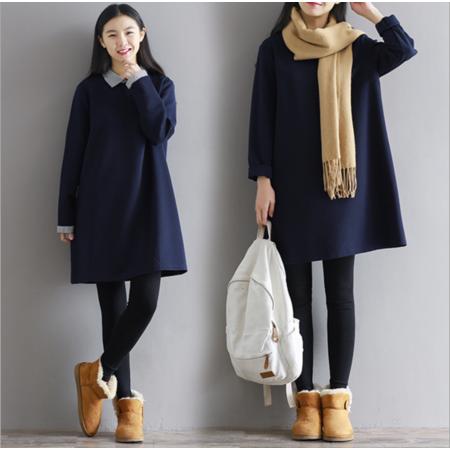 2016冬装新款中长款上衣宽松娃娃领打底衫长袖连衣裙