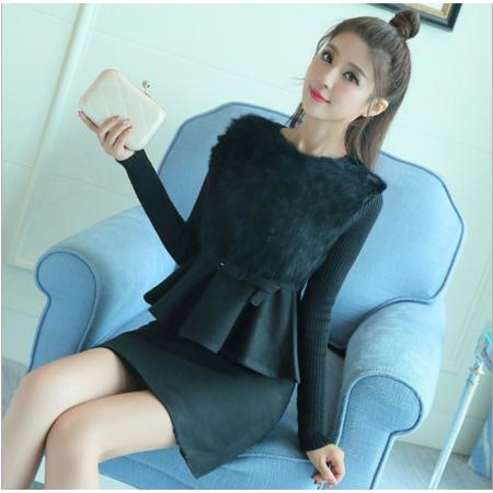 2016秋冬女装韩版长袖打底裙拼接套裙 中长款毛呢连衣裙
