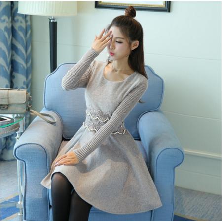 2016秋冬韩版长袖收腰显瘦连衣裙冬季中长款针织打底裙