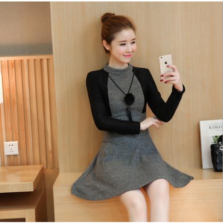 2016秋冬新款时尚新款韩版收腰修身显瘦拼接毛呢连衣裙