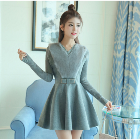 2016秋冬女装韩版甜美长袖针织打底裙中长款连衣裙