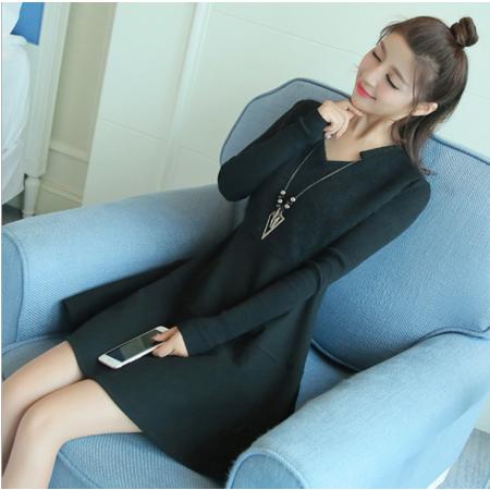 2016秋冬韩版修身显瘦V领针织长袖打底裙收腰连衣裙A字