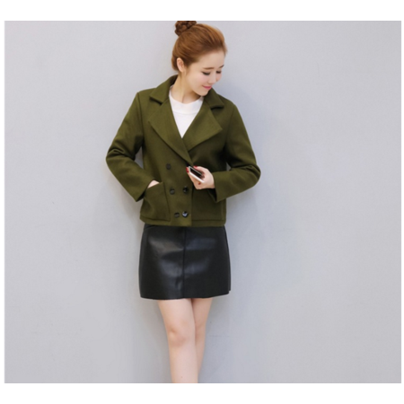 2016冬季新款韩版 双排扣短款翻领呢子短款毛呢外套潮