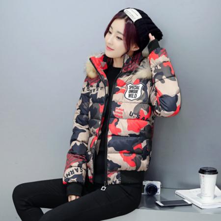 2016冬季新款修身棉服女短款棉衣迷彩毛领连帽外套