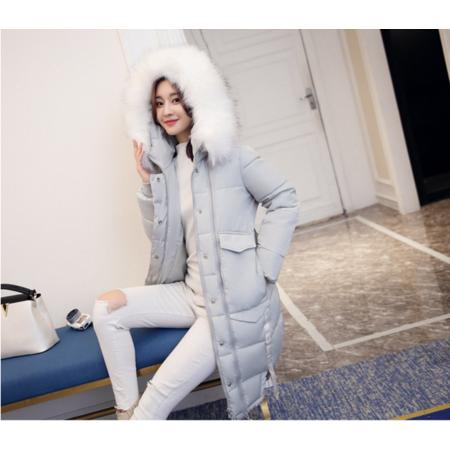 2016冬装新款韩版中长款连帽大毛领棉衣加厚保暖棉服女