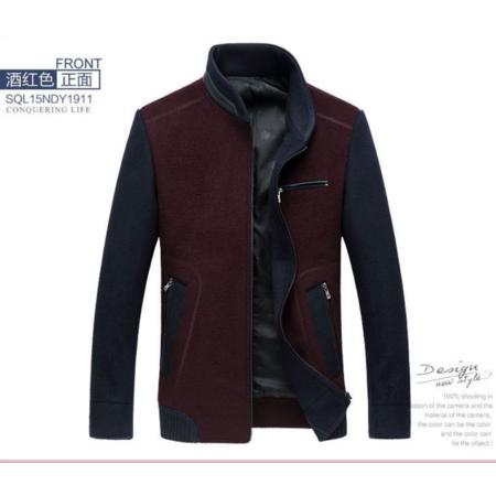2016冬新款男式毛呢夹克 韩版时尚立领夹克男装外套