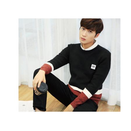 男式针织衫2016秋装新款男士毛衣 韩版男装拼色圆领针织衫男