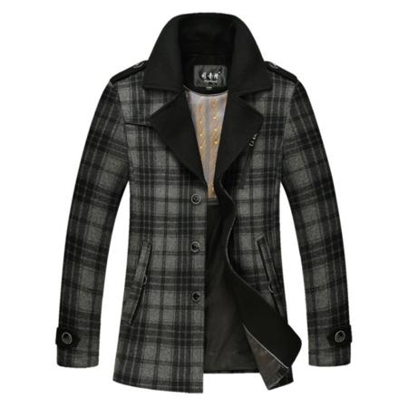 2016冬季新款男士毛呢风衣 中长款 韩版修身 毛呢外套 呢大衣