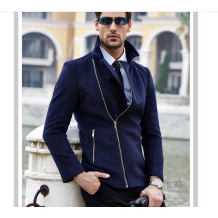 2016新款时尚男式毛呢大衣 普通款时尚休闲青年男装毛呢外套