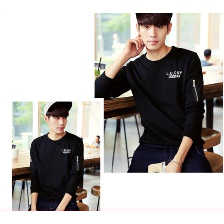 长袖T恤 2016秋装新款 男士简约印花休闲加绒长袖T恤韩版
