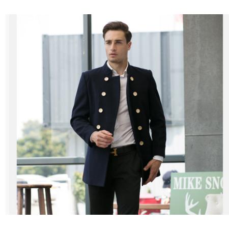 2016冬新款男士羊毛呢大衣 情侣款双排口翻领羊毛外套
