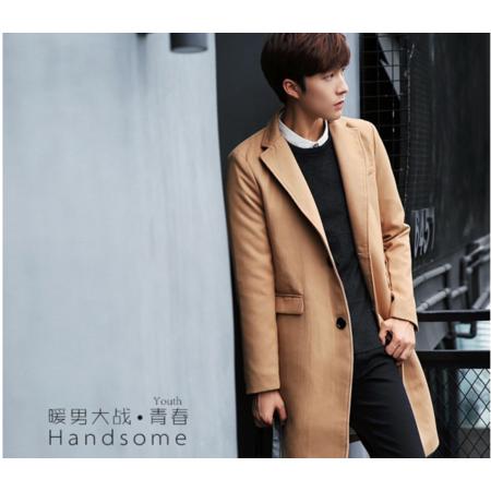 2016冬装新款毛呢大衣男外套 韩版男装中长款翻领呢子大衣男