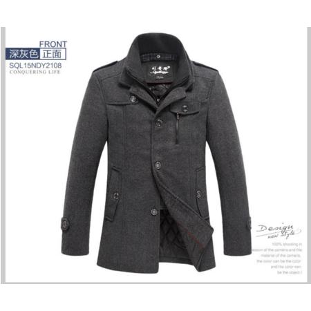 2016冬新款男士毛呢大衣 中长款立领加厚 毛呢外套 男