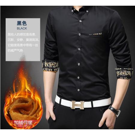 2016秋冬新品潮流衬衫男 韩版男式保暖衬衫 加绒加厚男士长袖衬衫