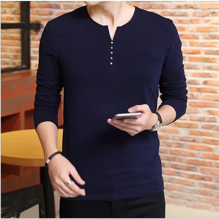 2016秋冬新款休闲T恤 韩版修身个性男式t恤 纯棉圆领男士长袖t恤