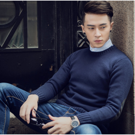 2016秋冬新款韩版修身潮流补丁男式毛衣 圆领套头休闲男士针织衫