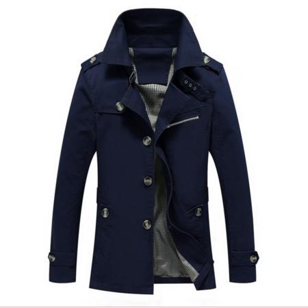 2016秋冬新款单排扣男风衣 韩版修身男式风衣 中长款男士风衣外套