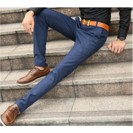 2016秋冬新款韩版修身男式小直脚裤 专柜品质纯色弹力男士休闲裤