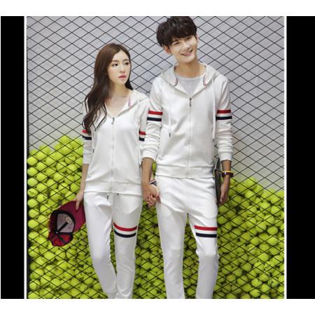 2016秋冬季新款韩版修身男式长袖套装 拼色连帽男士休闲运动套装