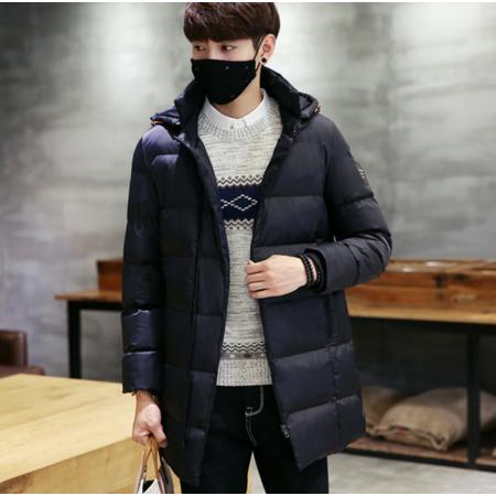 2016冬季中长款棉衣男士加厚棉服韩版修身连帽青年大码棉袄外套潮男装