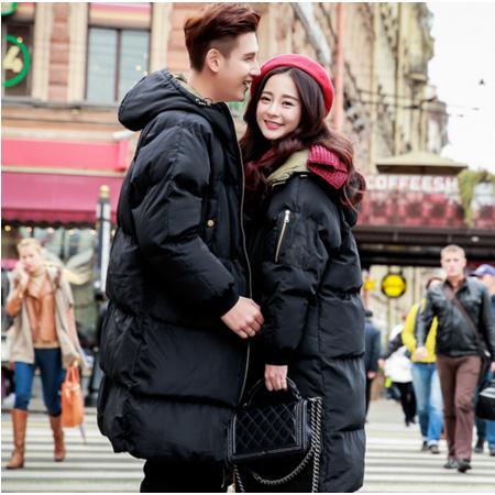 2016冬季连帽棉袄男女士情侣装加厚中长款棉衣韩版青年学生棉服外套潮