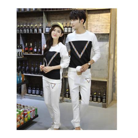 2016秋冬季新款韩版修身男式长袖套装 拼色圆领男士休闲运动套装