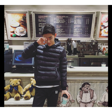 2016冬季男士港仔棉衣套头外套青少年修身加厚连帽棉服潮男装纯色棉袄