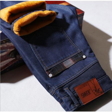 2016冬季加绒加厚牛仔裤男士修身小直筒商务青年男装棉休闲牛仔长裤子