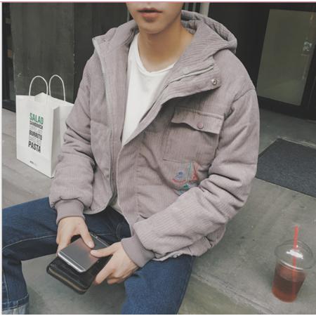 2016冬季休闲连帽加厚保暖棉衣男士灯芯绒宽松韩版青少年男装棉袄外套