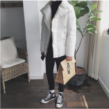 2016冬季不规则大翻领羽绒棉衣男士休闲个性潮流棉袄外套韩版修身棉服