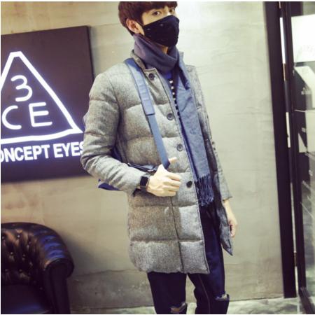 2016冬季中长款棒球领子棉衣男士纯色呢棉袄子韩版修身加厚棉服大衣潮