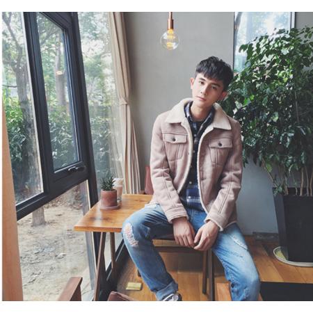 2016冬季羊羔毛绒翻领棉衣韩版青年修身仿麂皮绒加绒加厚夹克外套棉袄