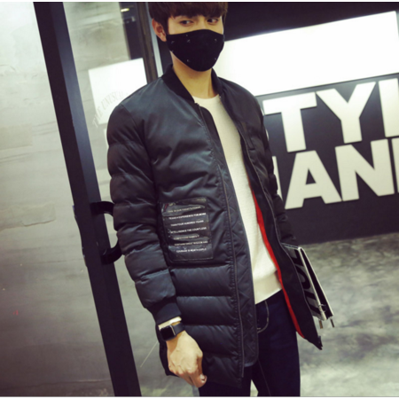 2016冬季加厚保暖棒球领棉袄男士休闲中长款大衣韩版修身潮流男装棉服