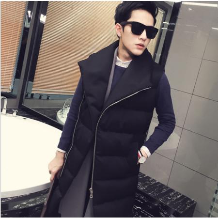 2016冬季加厚立领中长款棉衣男士无袖棉服韩版休闲棉袄子青年休闲外套