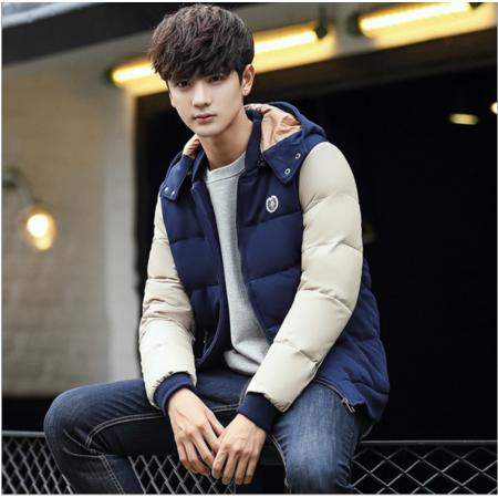 2016冬季连帽短款羽绒服男士加厚保暖棉袄韩版修身型青年外套拼色上衣