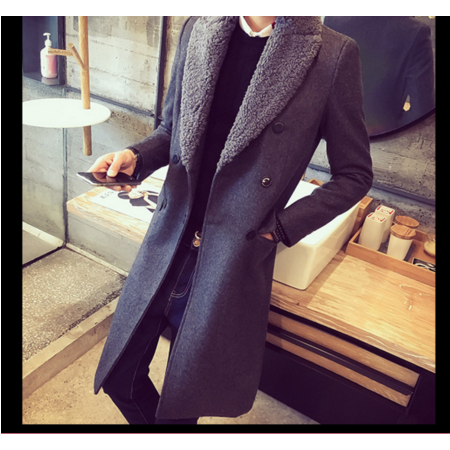 2016冬季羊羔毛领风衣男士修身中长款羊毛呢子大衣外套青年加绒披风潮