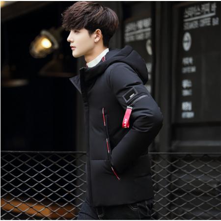 2016冬季连帽羽绒服男士短款修身轻薄白鸭绒外套韩版休闲青年保暖上衣
