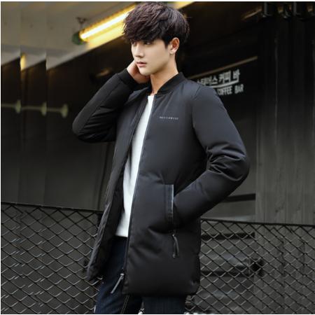 2016冬季中长款棒球领羽绒服男士轻薄简约白鸭绒外套韩版休闲男装上衣
