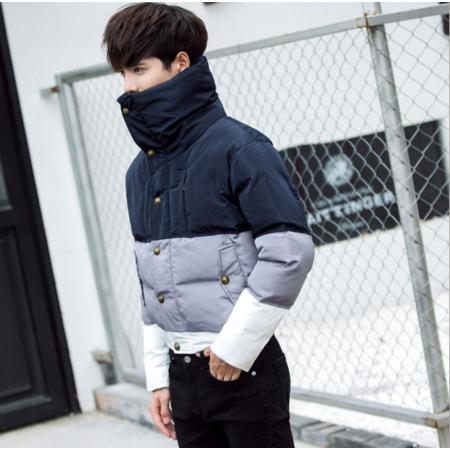 2016冬季休闲男装外套韩版修身保暖面包服高领拼色棉衣青年短款棉袄潮