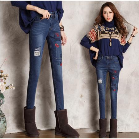 2016新款时尚潮流牛仔裤女长裤紧身小脚裤修身铅笔裤冬季加绒加厚