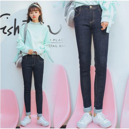 2016冬季超大弹力显瘦款卷边小脚牛仔裤修身铅笔裤学生女款