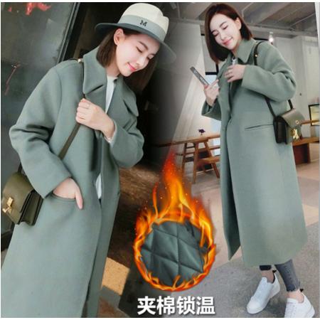 2016韩国秋冬装韩版呢子大衣女修身显瘦加厚长款过膝毛呢外套女过膝款